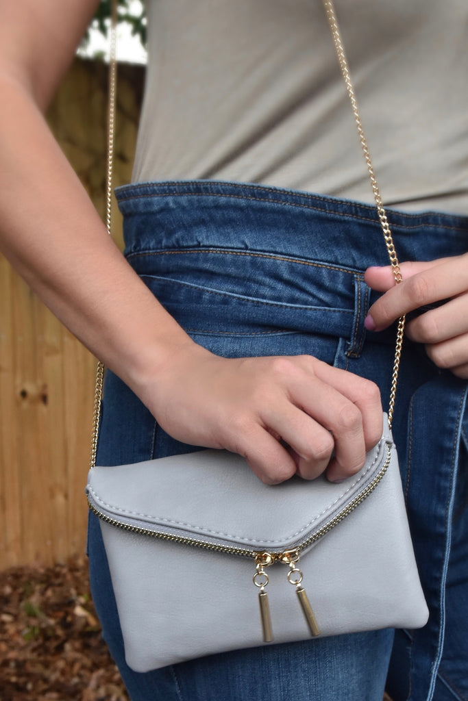 Trendy Chic Crossbody Clutch- Grey