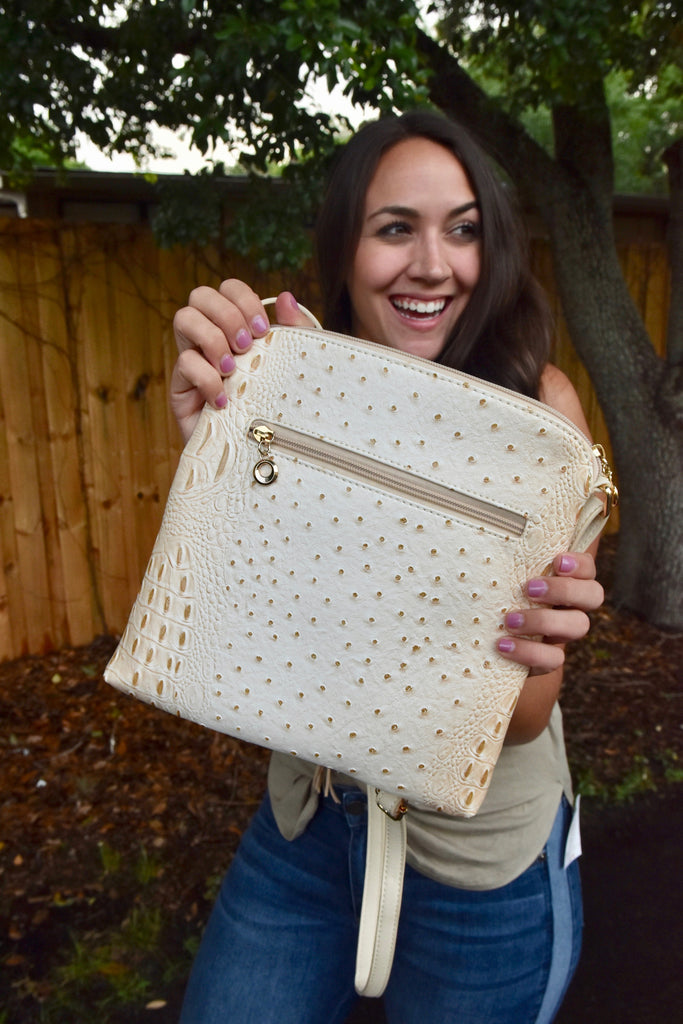 Faux Alligator Crossbody Bag- Sand