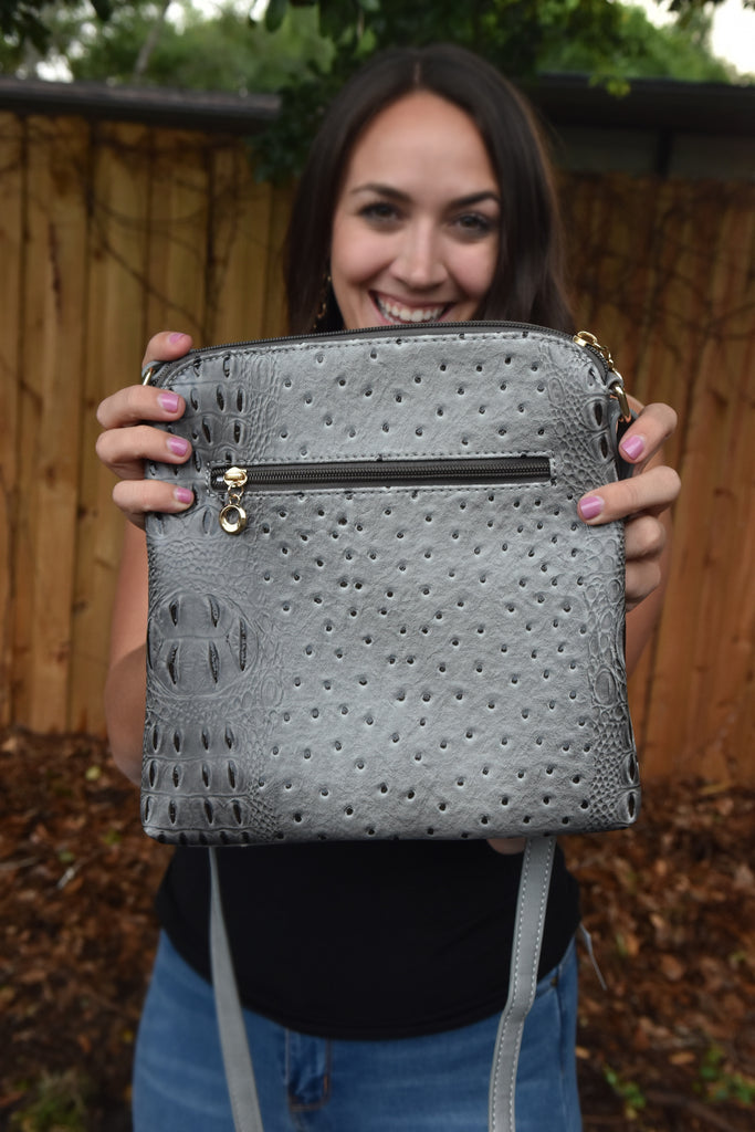 Faux Alligator Crossbody Bag- Grey