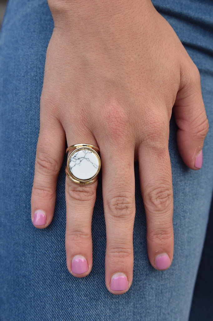 White Marble Statement Ring