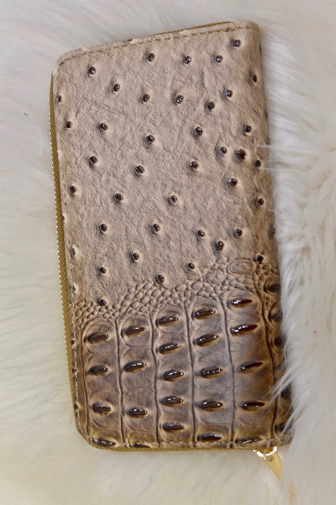 Tan Faux Alligator Wallet