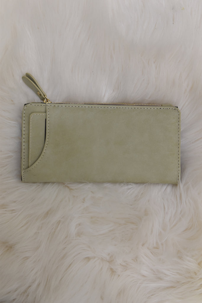 Taupe Faux Leather Suede Wallet
