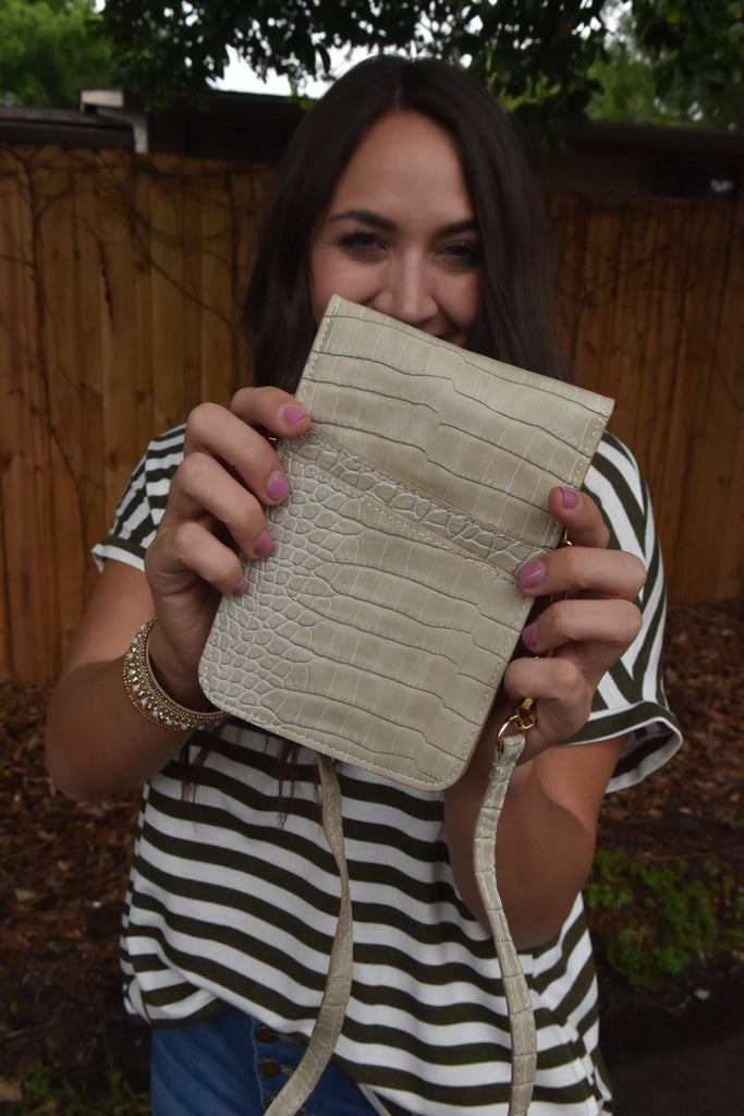 Mini Crossbody Clutch- Faux Alligator Ivory