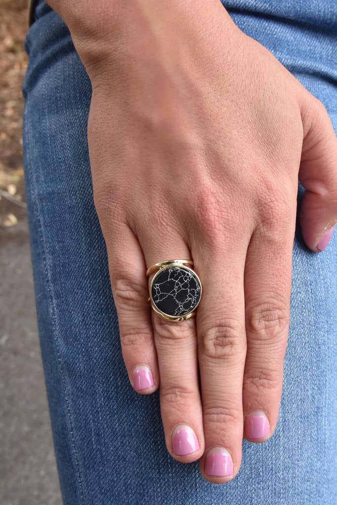 Black Marble Statement Ring