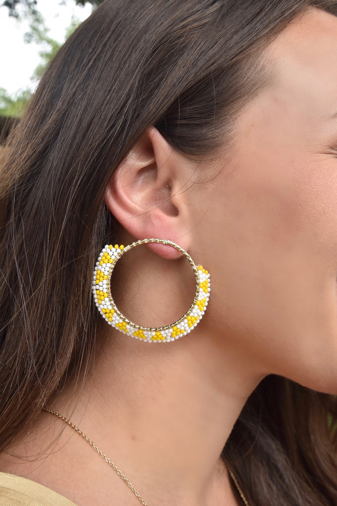 Yellow & White Gold Hoop Earrings