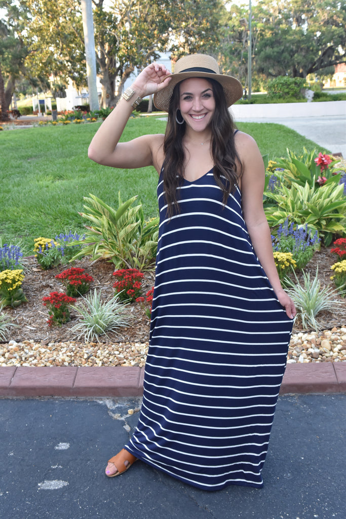 Lucky Stripes Navy Maxi