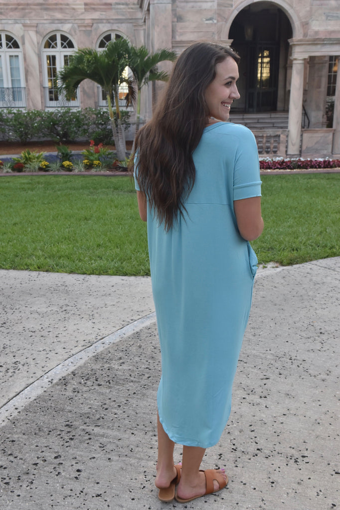 Milky Blue Midi Dress with Pockets