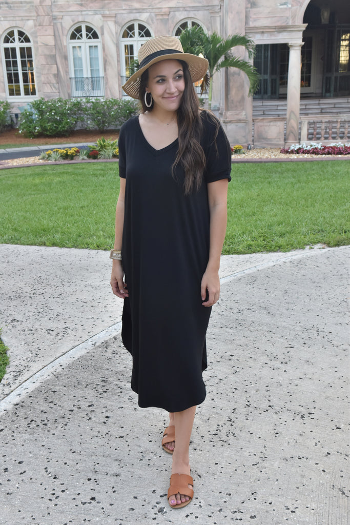 Midnight Black Midi Dress with Pockets
