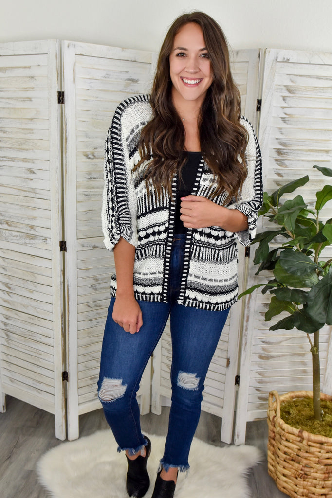 Black & White Half Sleeve Knitted Cardigan