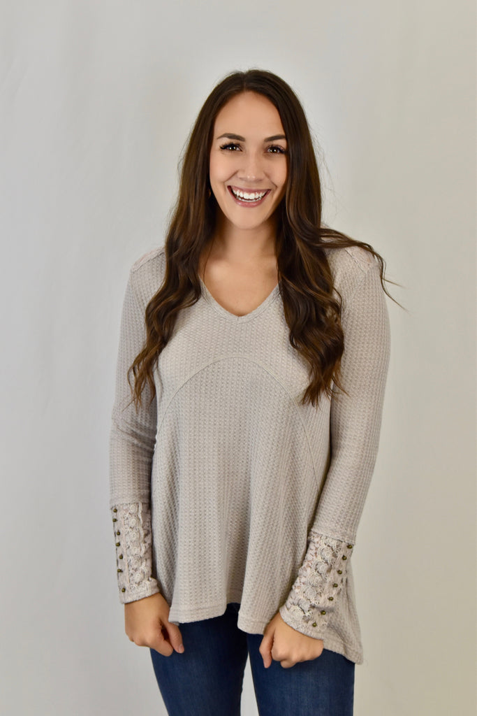 Divine Lace Thermal Top- Taupe