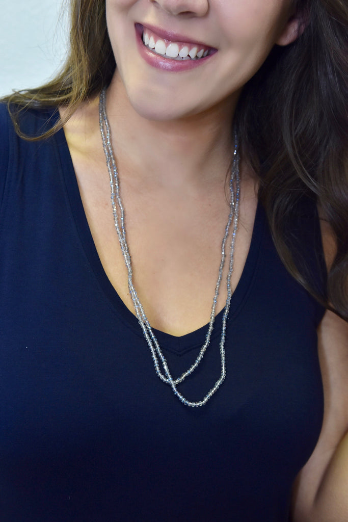 Crystal Cove Beaded Necklace- Grey/Blue