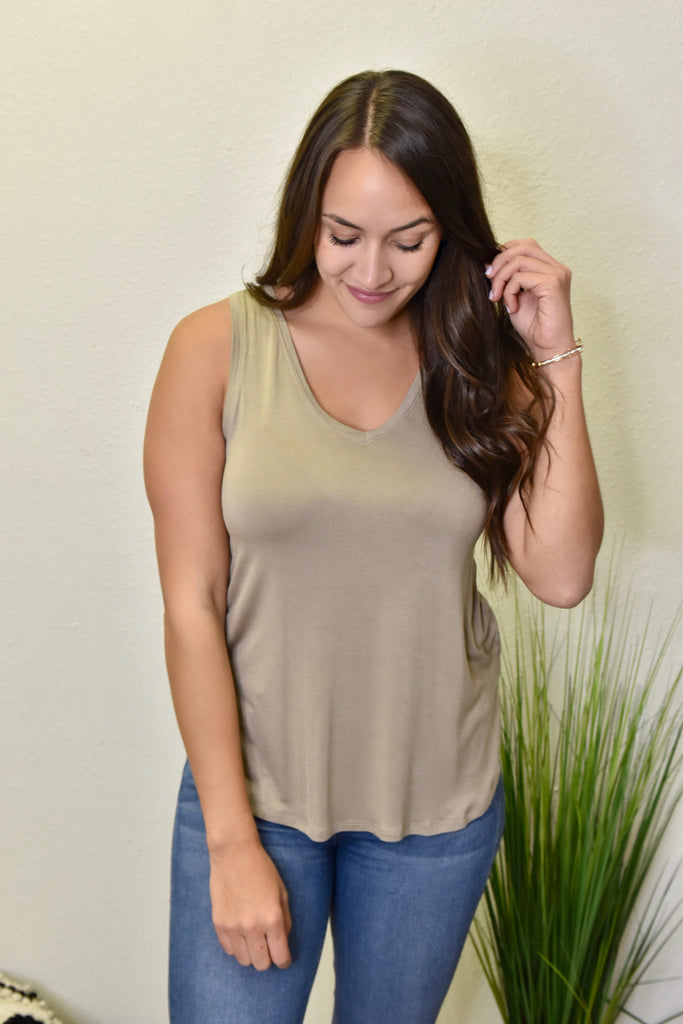 Best of You Basic Tank- Smoke Green