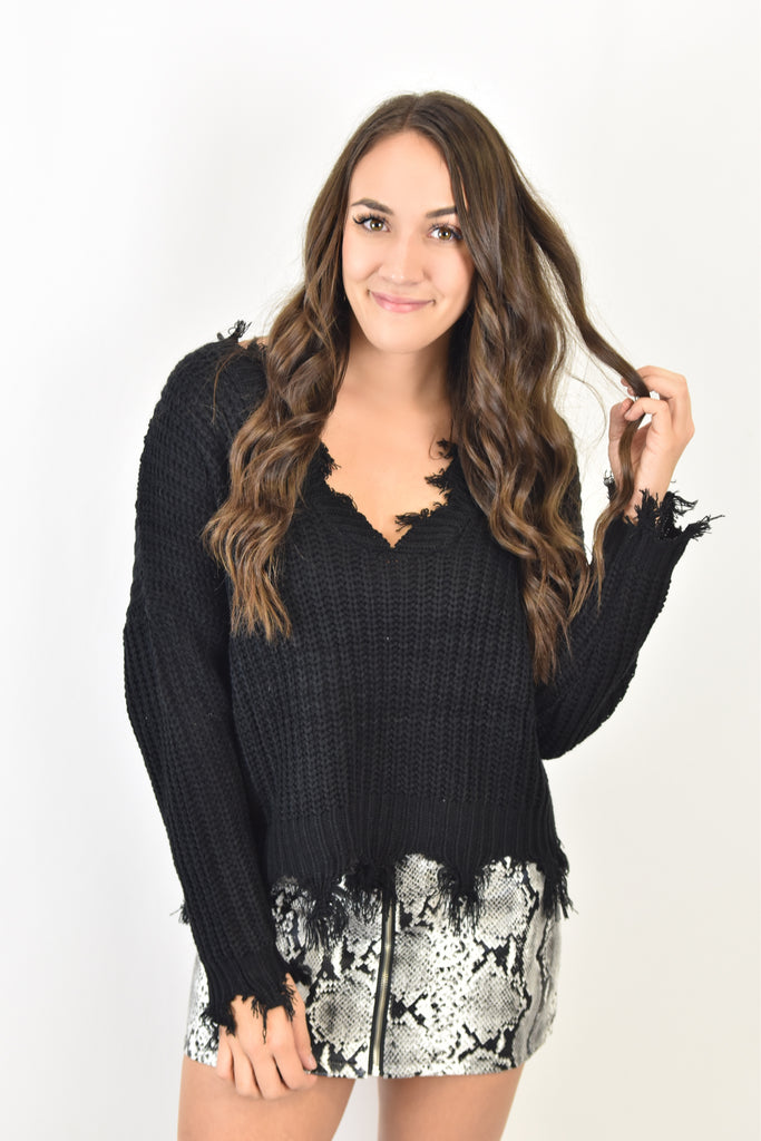 Black Destroyed Sweater