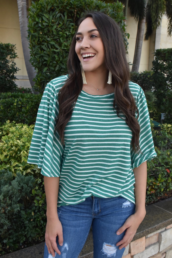 The Chanel Striped Tee- Green