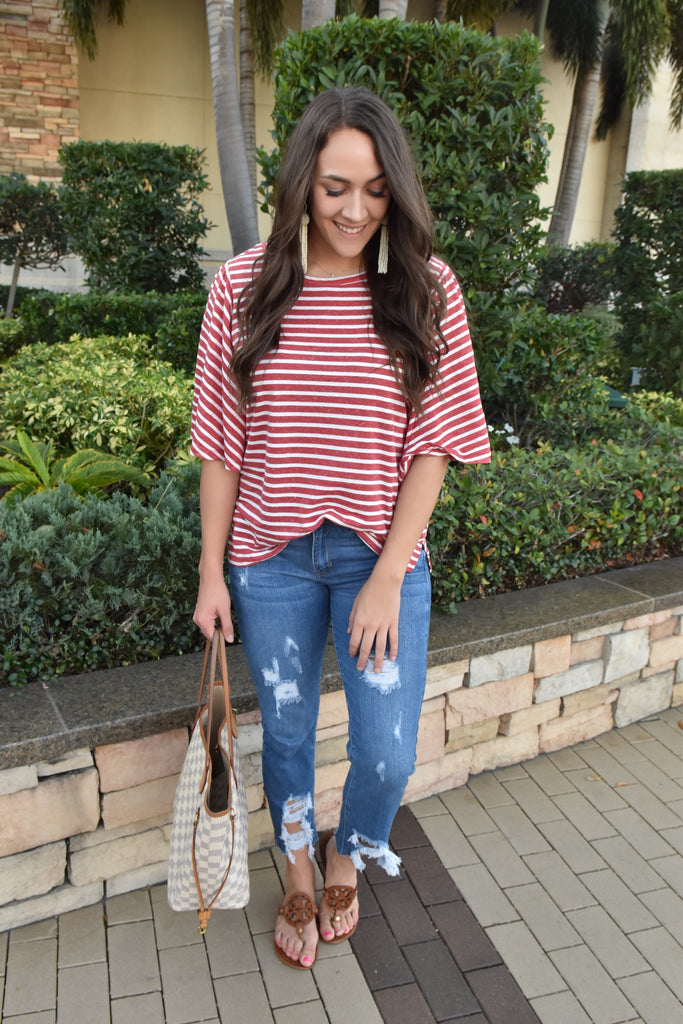 The Chanel Striped Tee- Red