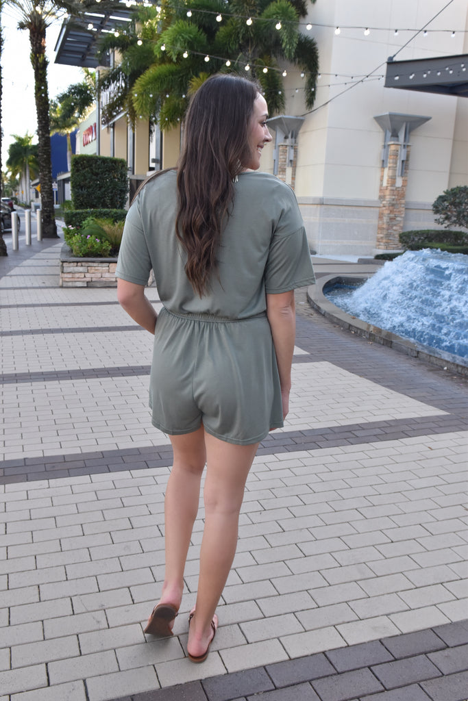 Perfect Timing Olive Romper