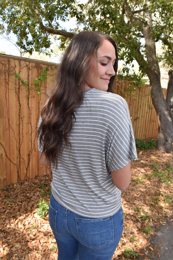 High Hopes Striped Tie Top- Grey