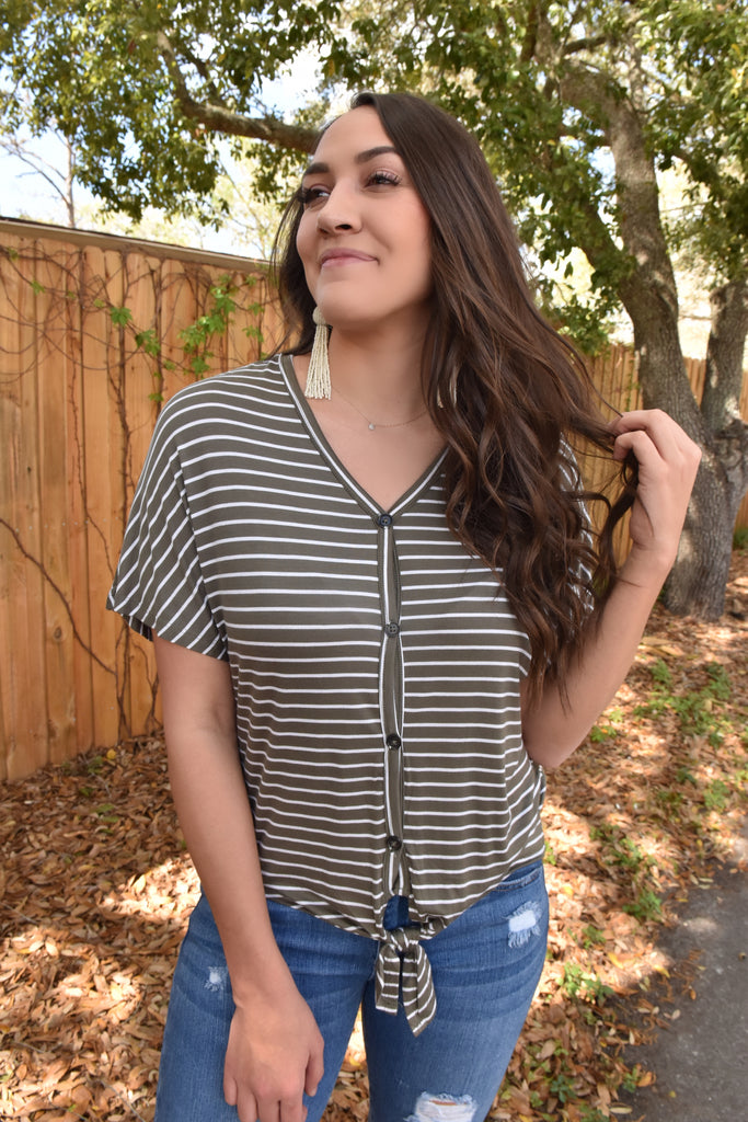 High Hopes Striped Tie Top- Olive