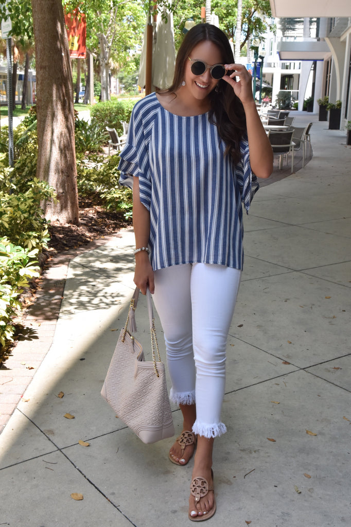Madelyn Striped Top- Denim Colored