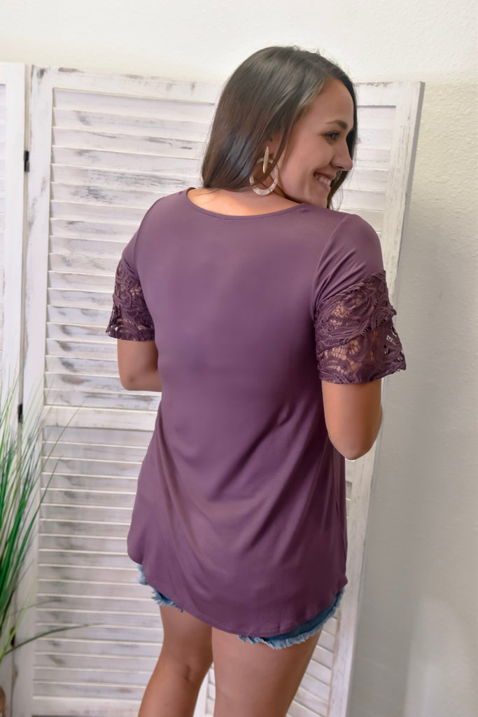 Layered Lace Sleeve Top- Plum