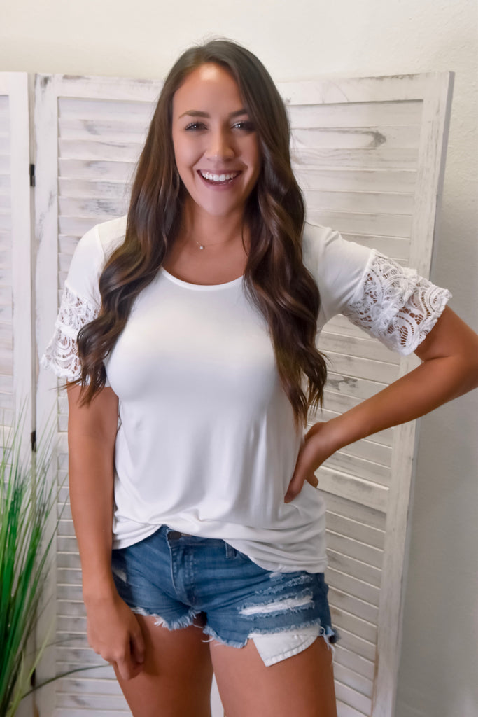 Layered Lace Sleeve Top- Ivory