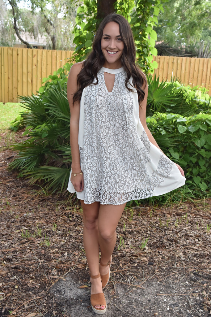 Flowy Keyhole Lace Dress- Ivory