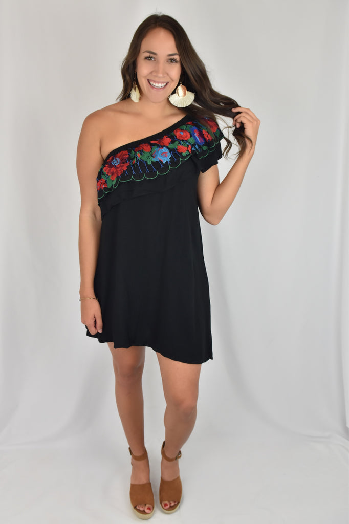One Shoulder Black Floral Dress