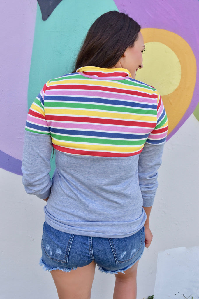 Rainbow Quarter Zip- Blue
