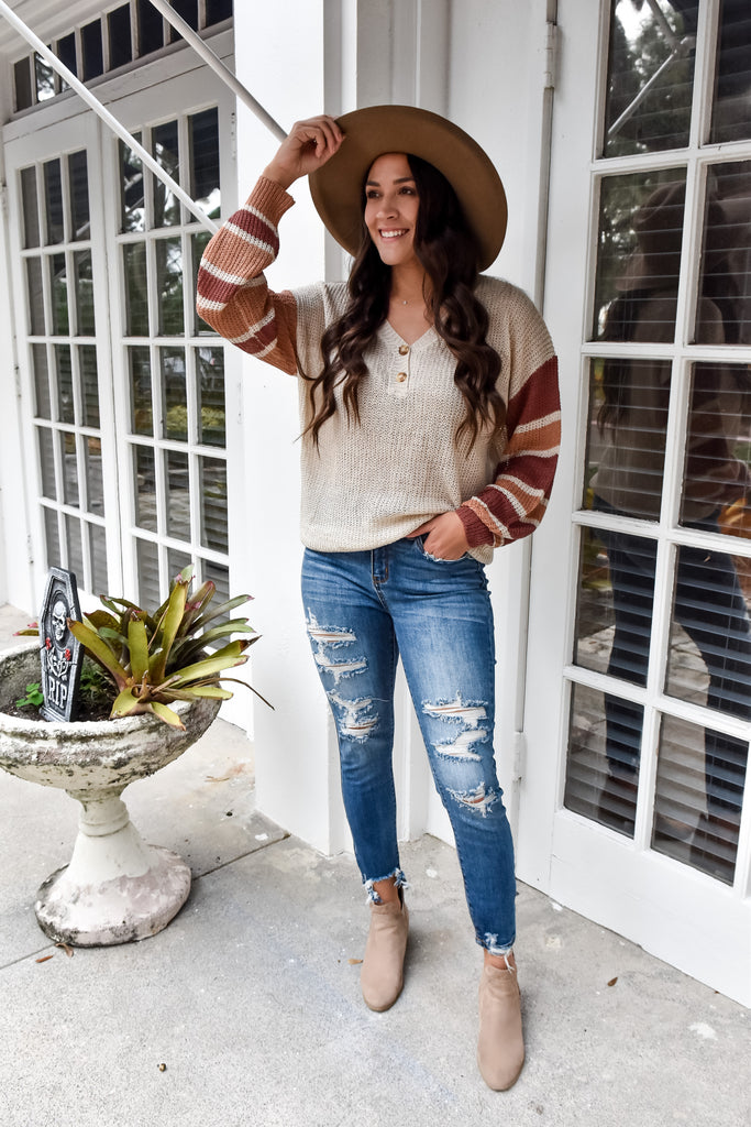 Stay Thankful Striped Henley Sweater