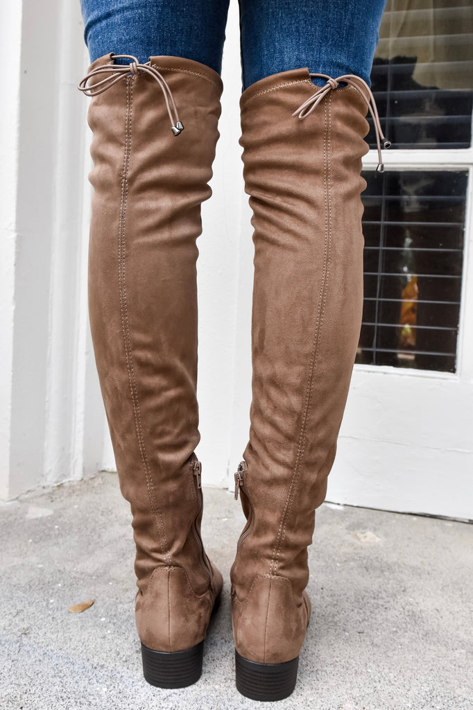 Laurel Over The Knee Mocha Boots - Vogue Society