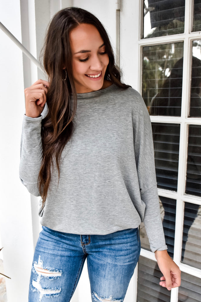 The Josie Dolman Sleeve Top- Grey