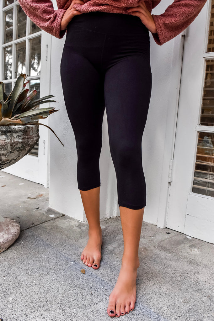 Cropped Butter Soft Black Legging - Vogue Society