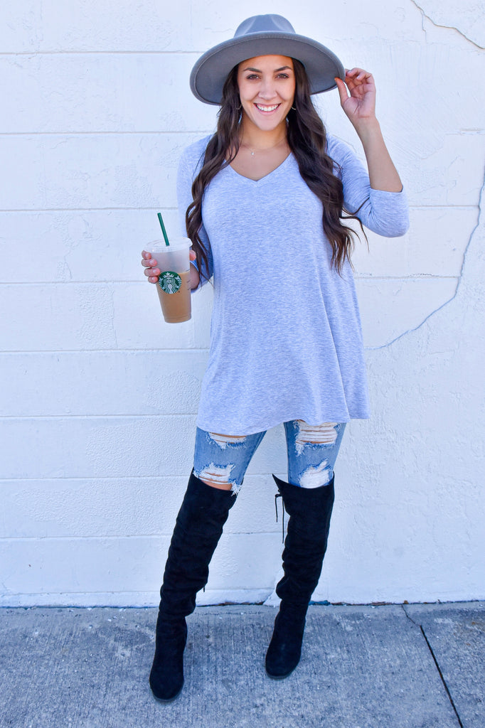 The Perfect Pocket Top- Heather Grey