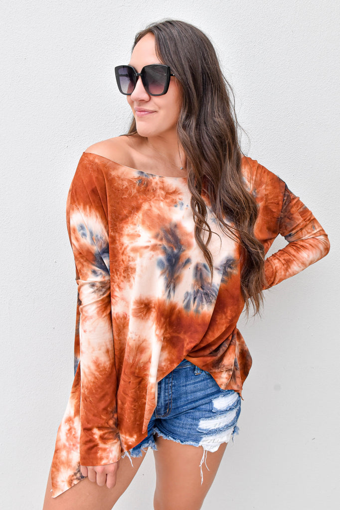 Out All Day Boatneck Top- Rust