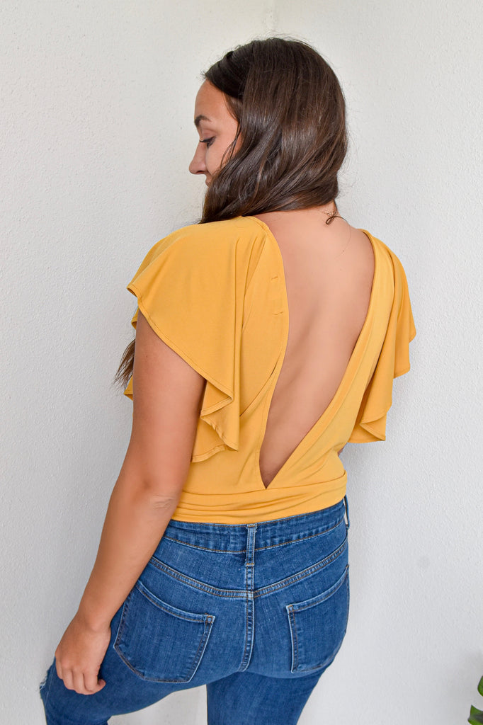Sleek + Chic Bodysuit- Mustard