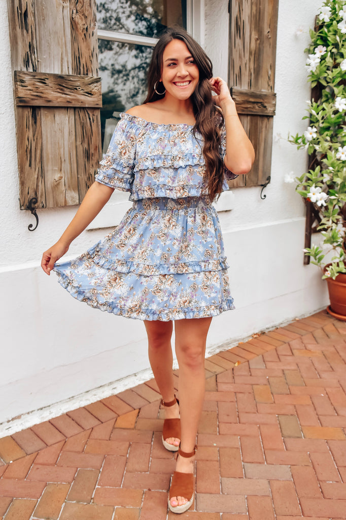 Harmony Blue Floral Dress - Vogue Society