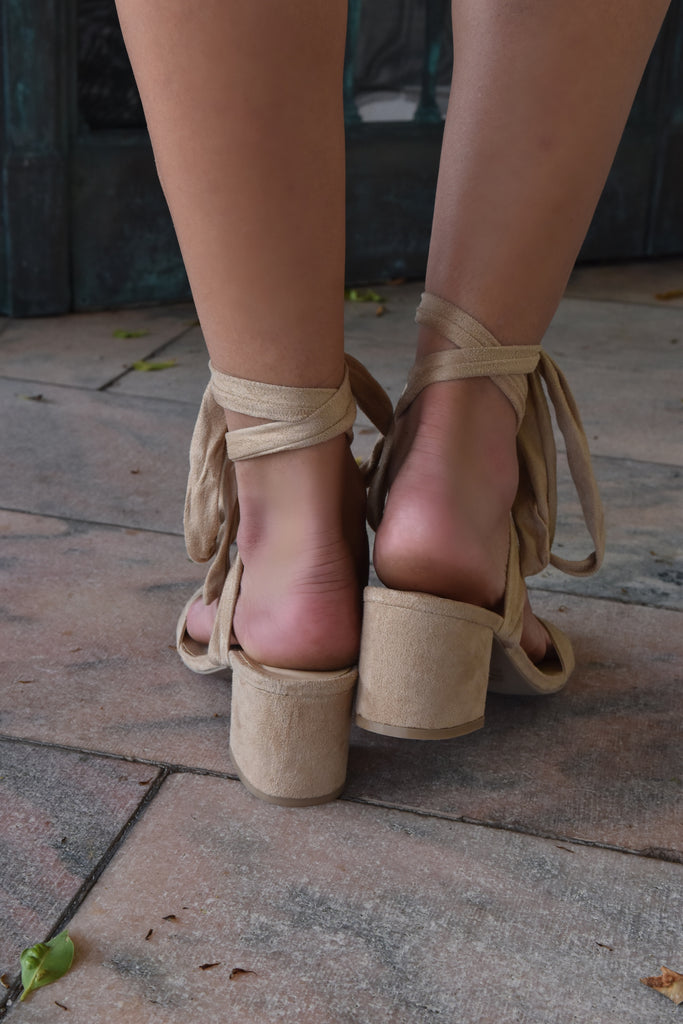 Tan Tie-Up Mini Heel