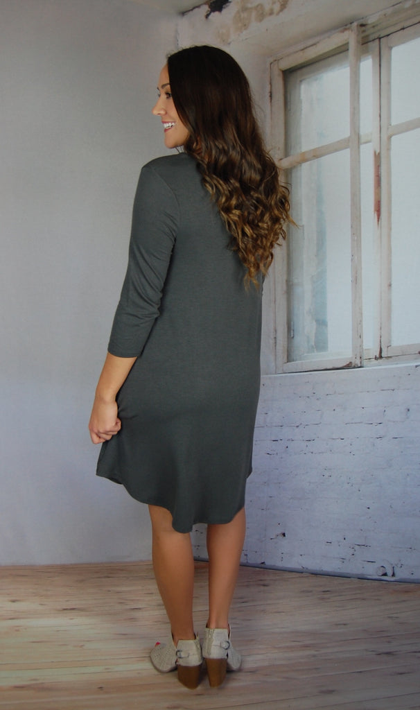 Free Soul Pocket Dress- Grey