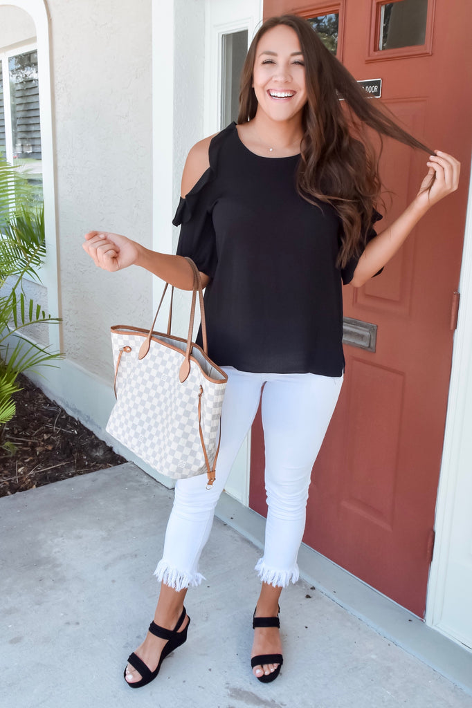 Harmony Cold Shoulder Blouse- Black