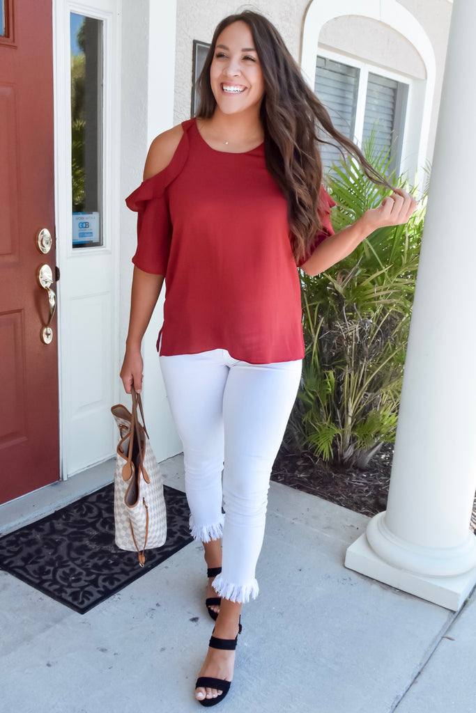 Harmony Cold Shoulder Blouse- Wine