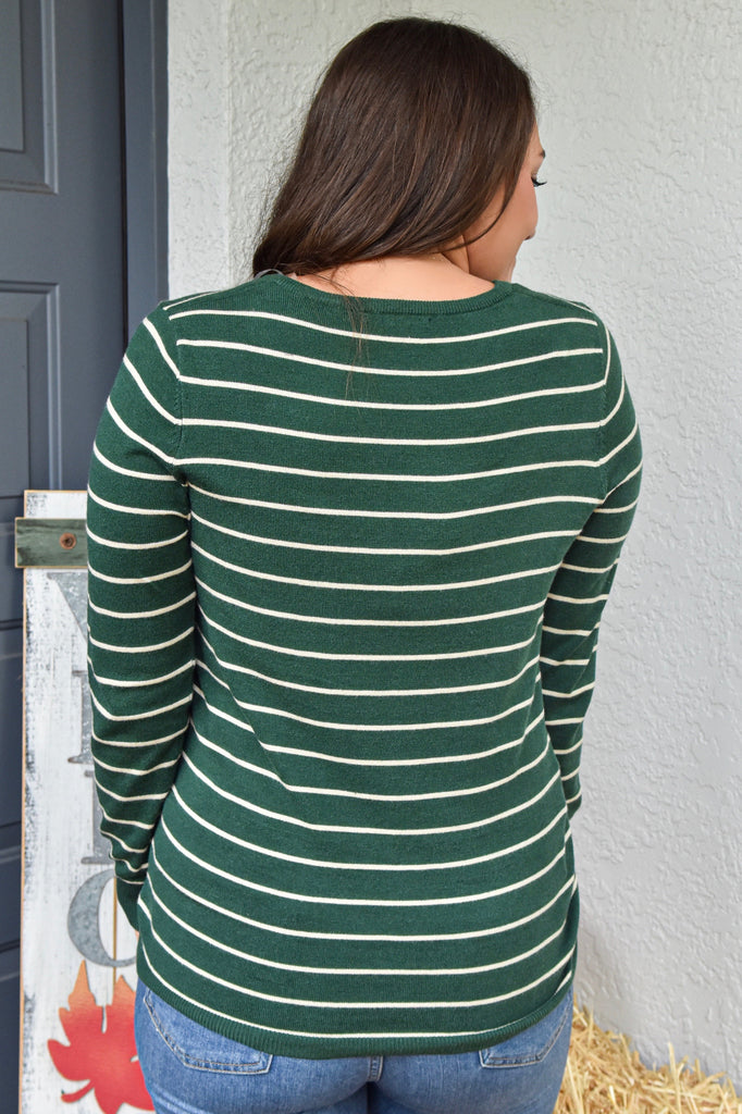The Avery Striped Long Sleeve- Green