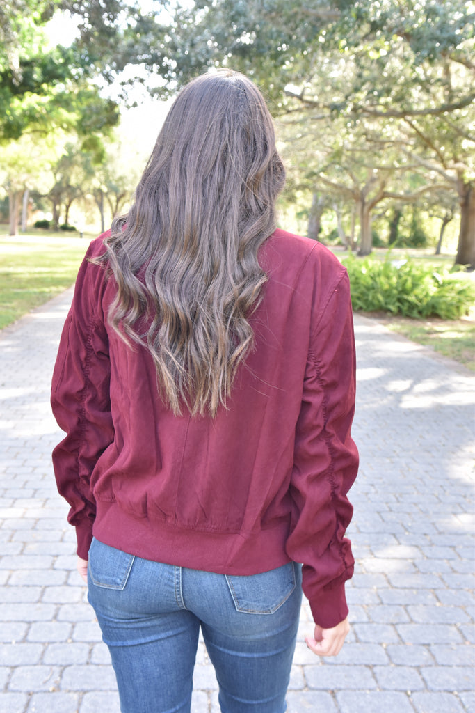 Ruched Sleeve Bomber Jacket- Burgundy