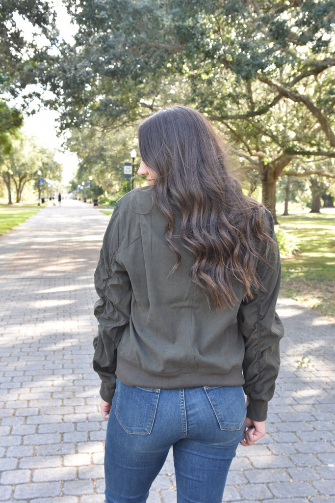 Ruched Sleeve Bomber Jacket- Olive