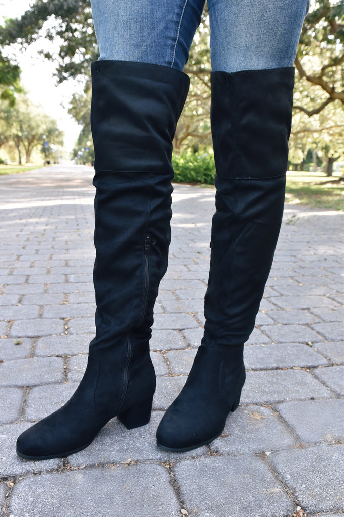 Midnight Over The Knee Boot