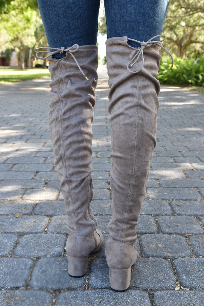 Night & Day Taupe Over the Knee Boots