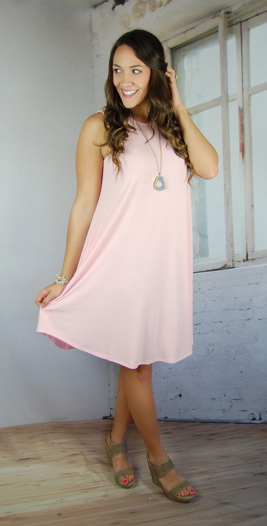 Love So Soft Tank Dress with Pockets- Light Pink