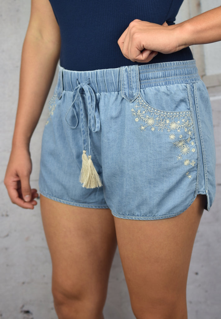 Coastal Chambray Embroidered Shorts- Denim Blue