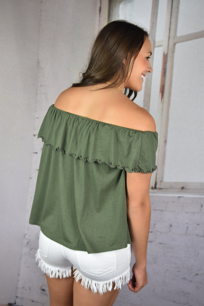 Laney Ruffle Top- Olive