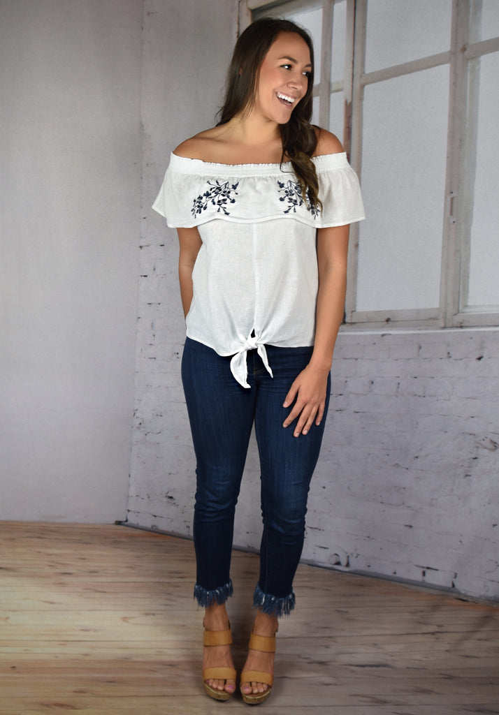Love Me Embroidered Tie Top