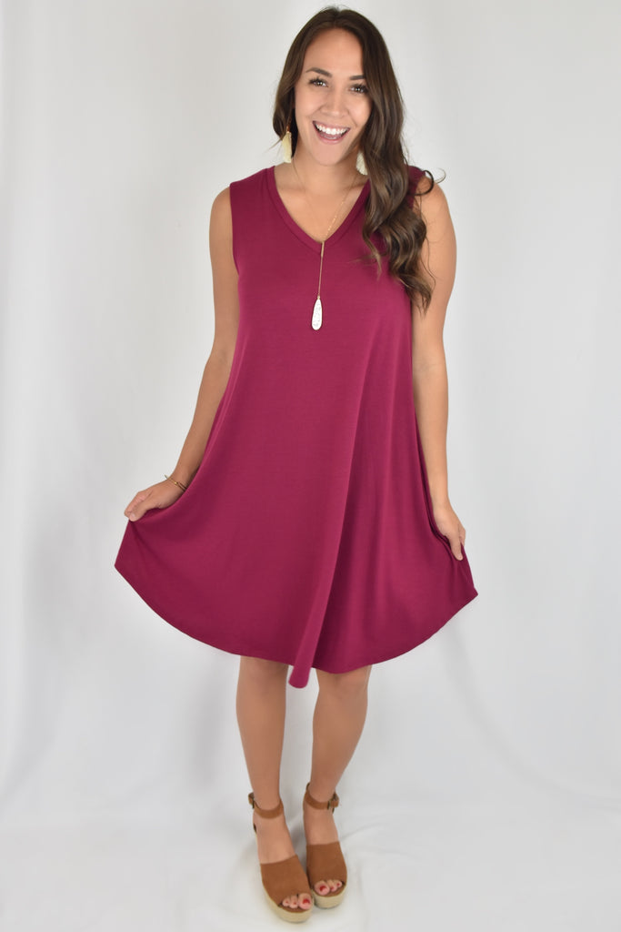 V-Neck Love So Soft Tank Dress with Pockets- Wine